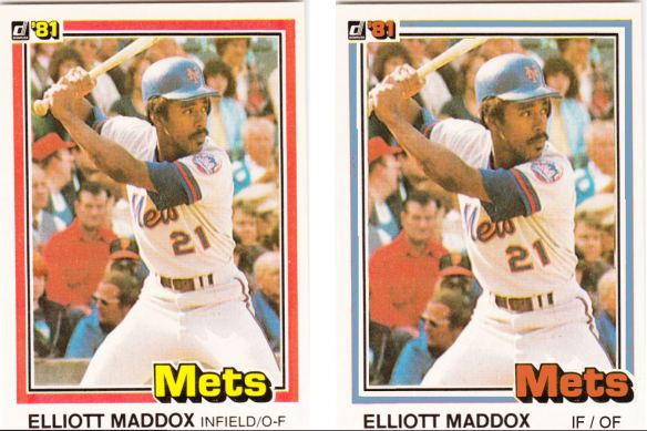 1981 Donruss Elliott Maddox - before and after