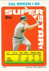 1990 Topps Stickers Ripken Back