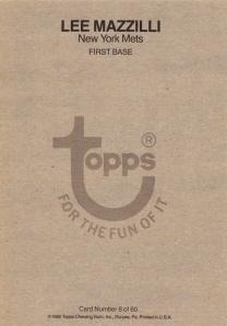 1980 Topps Super Lee Mazilli Back