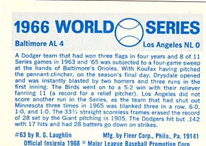 1970 Fleer World Series 63 Back
