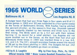1970 Fleer World Series 63 Back