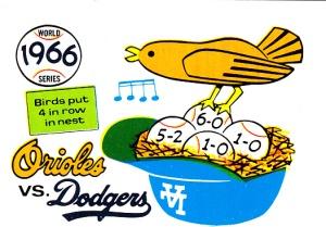1970 Fleer World Series 63 Orioles Dodgers