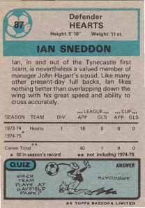 1975-76 Topps Scottish Footballers Sneddon Back