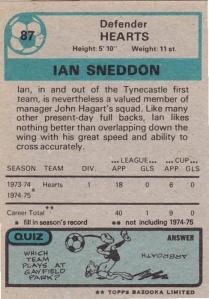 1975-76 Topps Scottish Footballers Sneddon Back