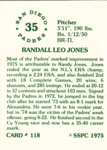 1976 SSPC #118 Randy Jones back