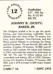 1976 SSPC #16 Dusty Baker back
