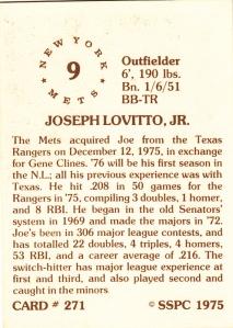 1976 SSPC #271 Joe Lovitto back