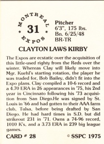 1976 SSPC #28 Clay Kirby back