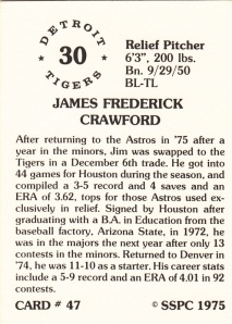 1976 SSPC #47 Jim Crawford back