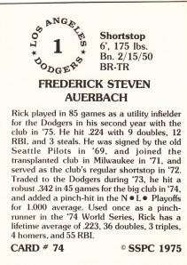1976 SSPC #74 Rick Auerbach back