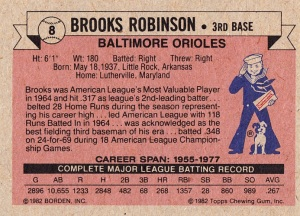 1982 Cracker Jack Brooks Robinson Back