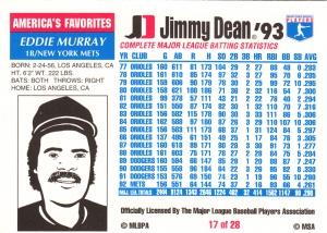 1993 Jimmy Dean Eddie Murray back