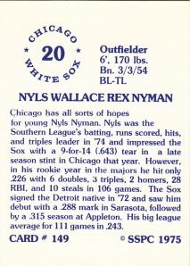 1976 SSPC #147 Nyls Nyman back