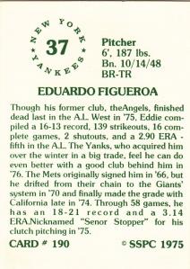 1976 SSPC #190 Ed Figueroa back