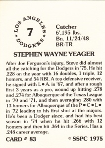 1976 SSPC #83 Steve Yeager back