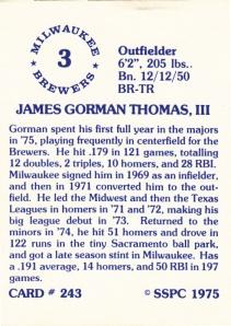 1976 SSPC #243 Gorman Thomas back