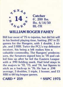 1976 SSPC #259 Bill Fahey back