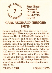 1976 SSPC #278 Reggie Smith back