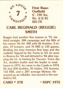 1976 SSPC #278 Reggie Smith back