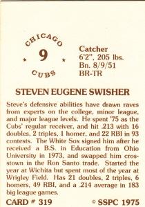 1976 SSPC #319 Steve Swisher back