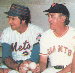 1977 Mets yearbook photo of Don Cardwell and Sal Maglie
