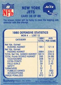 1981 Fleer New York Jets back