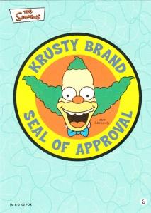 2002 Topps Simpsons Krusty Seal Sticker
