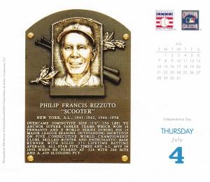 2013 Baseball HOF calendar July 4