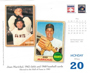2013 Baseball HOF calendar May 20