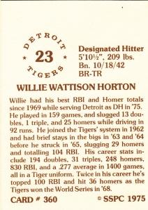 1976 SSPC #360 Willie Horton back