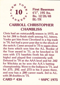 1976 SSPC #434 Chris Chambliss back