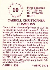 1976 SSPC #434 Chris Chambliss back