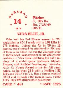 1976 SSPC #481 Vida Blue back