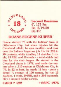 1976 SSPC #522 Duane Kuiper back
