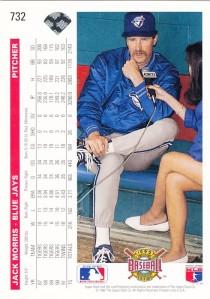 1992 Upper Deck Jack Morris back