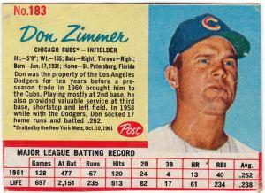 1962 Post Don Zimmer