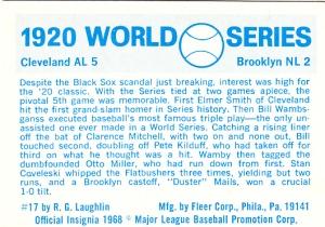 1970 Fleer World Series 17 Back