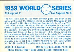 1970 Fleer World Series 56 Back