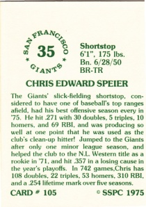 1976 SSPC #105 Chris Speier back