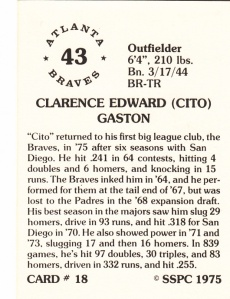 1976 SSPC #18 Cito gaston back