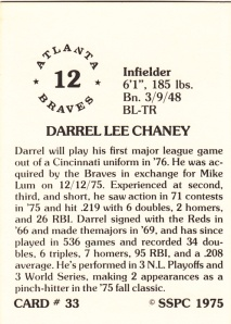 1976 SSPC #33 Darrel Chaney back