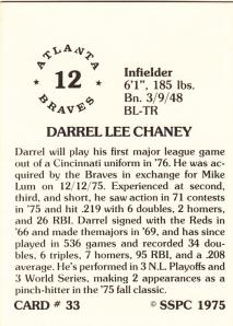 1976 SSPC #33 Darrel Chaney back