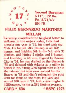 1976 SSPC #536 Felix Millan back