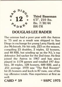 1976 SSPC #59 Doug Rader back