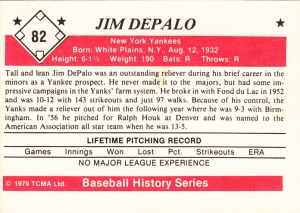 1979 TCMA Baseball History Jim Depalo back