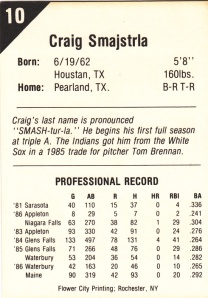 1987 Buffalo Bisons Craig Smajstrla back