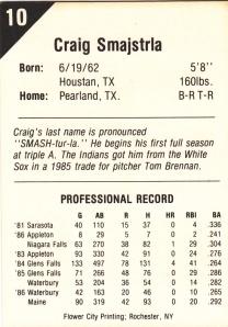 1987 Buffalo Bisons Craig Smajstrla back