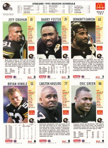 1993 McDonald's GameDay Steelers sheet 1 back
