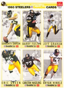 1993 McDonald's GameDay Steelers sheet 1 front