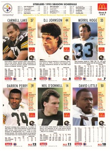 1993 McDonald's GameDay Steelers sheet 2 back